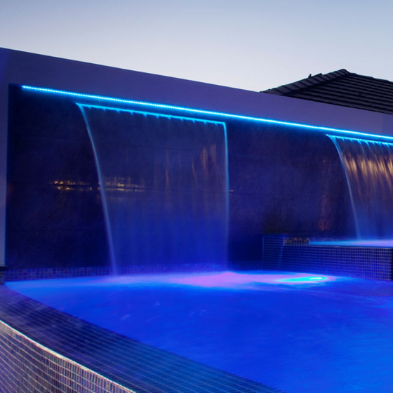 Large Sheer Waterfall with LED Lighting