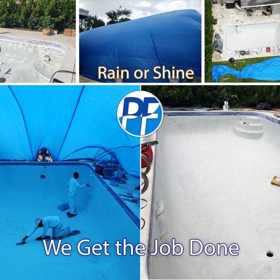 Pool Resurfacing Even in the Rain