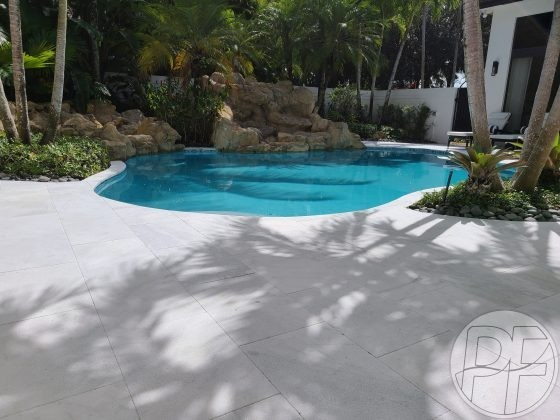 Pool & Deck Remodeling - White Marble Pavers - Pools Finishing Inc.