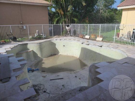 Pool & Deck Remodel - Cutting in Travertine Pavers - Pools Finishing Inc