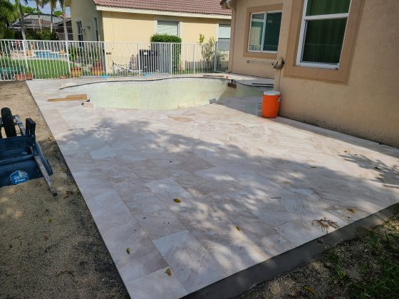 Pool & Deck Remodel - Travertine Pavers Finished - Pools Finishing Inc