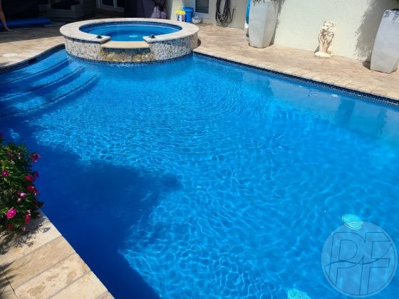 Pool Resurfacing - Florida Stucco GEM Azure Blue - Pools Finishing Inc.